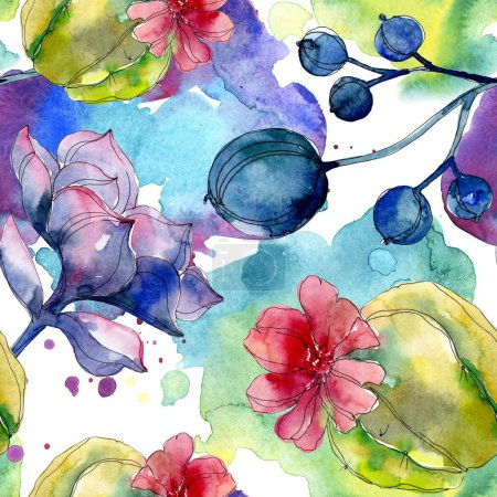Flores botánicas suculentas. Juego de ilustración en acuarela. Patrón de fondo sin costuras. Textura de impresión de papel pintado de tela .