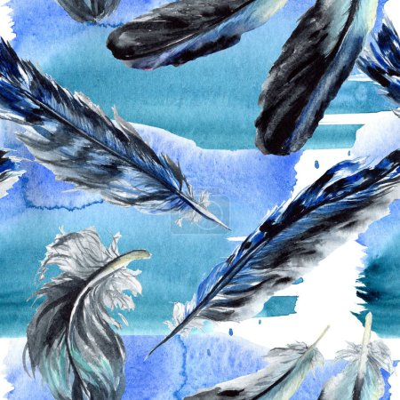 Photo for Blue and black bird feathers from wing. Watercolor background illustration set. Seamless background pattern. - Royalty Free Image