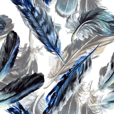 Blue and black bird feathers from wing. Watercolor background illustration set. Seamless background pattern.