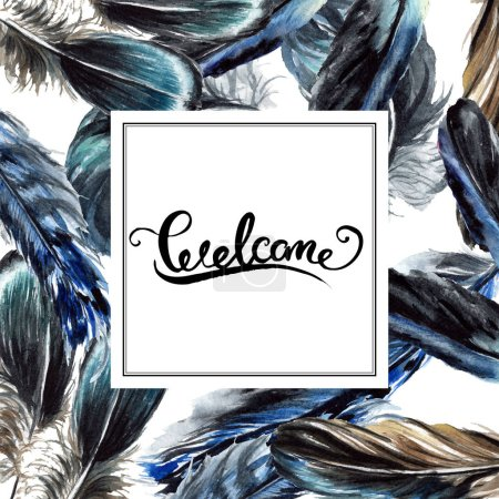 Foto de Plumas de pájaro azul y negro de ala. Conjunto de ilustración de fondo de acuarela. Ornamento de la frontera del marco con letras. - Imagen libre de derechos