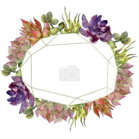 Photo pour Plantes succulentes à botaniques tropicales exotiques. Aquarelle de fond illustration ensemble. Ornement de bordure cadre avec espace copie. - image libre de droit