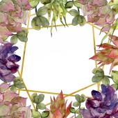 """Постер, картина, фотообои """"Экзотические тропические ботанические суккулентов. Акварель фон иллюстрации набора. Орнамент границы кадра с копией пространства"""""""