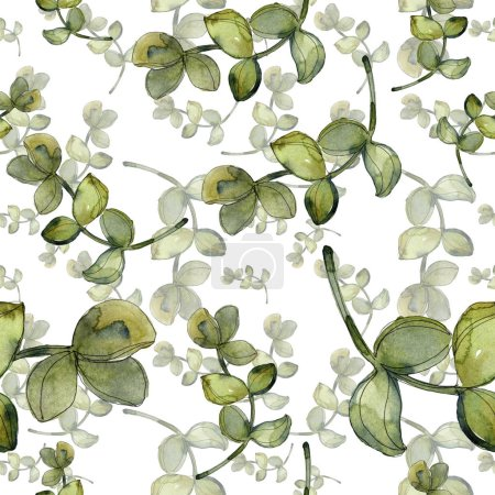 Photo pour Succulents botaniques exotiques hawaïens tropicaux. Ensemble d'illustration aquarelle. Modèle de fond sans couture. Texture d'impression papier peint tissu . - image libre de droit