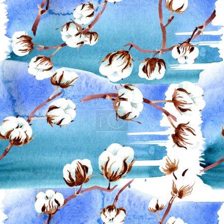 Photo pour Coton fleurs botaniques. Illustration aquarelle ensemble. Motif de fond transparente. Impression texture de tissu papier peint. - image libre de droit