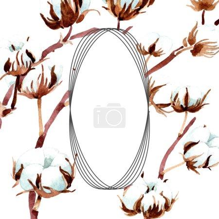 Photo for Cotton botanical flowers. Watercolor background illustration set. Frame border ornament. - Royalty Free Image