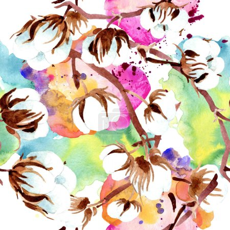 Photo for Cotton botanical flowers. Watercolor illustration set. Seamless background pattern. Fabric wallpaper print texture. - Royalty Free Image