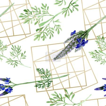 Photo pour Fleurs bleu lavande violette. Wildflower de feuille de printemps sauvage isolé. Illustration aquarelle ensemble. Dessin aquarelle de mode aquarelle. Motif de fond transparente. Impression texture de tissu papier peint. - image libre de droit