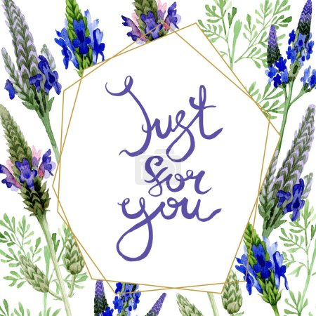 Photo for Blue violet lavender floral botanical flower. Wild spring leaf wildflower isolated. Watercolor background illustration set. Watercolour drawing fashion aquarelle. Frame border ornament square. - Royalty Free Image