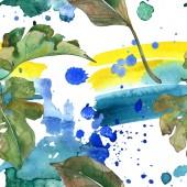 """Постер, картина, фотообои """"Экзотические тропические Гавайские лето. Палм Бич дерево листья. Набор акварели иллюстрации. Акварель рисования моды акварель изолированы. Бесшовный фон узор. Обои для рабочего стола ткань печати текстуры"""""""