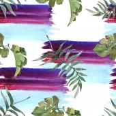 """Постер, картина, фотообои """"Экзотические тропические Гавайские лето. Палм Бич дерево листья. Набор акварели иллюстрации. Акварель рисования моды акварель изолированы. Бесшовный фон узор. Обои для рабочего стола ткань печати текстуры."""""""