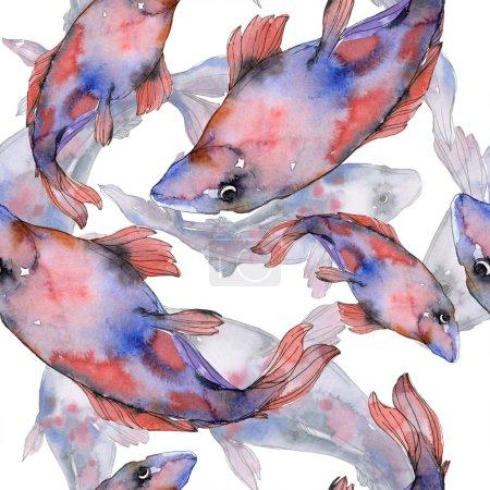 Photo pour Ensemble de poissons aquatiques colorés sous-marins tachetés. Mer Rouge et poissons exotiques à l'intérieur. Ensemble d'illustration aquarelle. Aquarelle dessin mode aquarelle. Modèle de fond sans couture. Impression de papier peint tissu . - image libre de droit