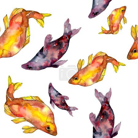 Photo for Spotted aquatic underwater colorful fish set. Red sea and exotic fishes inside. Watercolor illustration set. Watercolour drawing fashion aquarelle. Seamless background pattern. Fabric wallpaper print. - Royalty Free Image