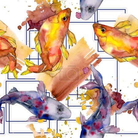Foto de Conjunto manchado acuáticos peces de colores bajo el agua. Mar rojo y peces exóticos dentro. Conjunto de ilustración acuarela. Aquarelle de moda dibujo de acuarela. Patrón de fondo transparente. Fondo de pantalla de tela impresa - Imagen libre de derechos