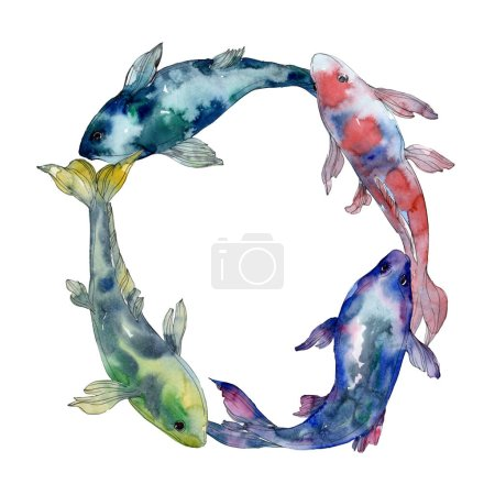 Photo for Spotted aquatic underwater colorful fish set. Red sea and exotic fishes inside. Watercolor background illustration set. Watercolour drawing fashion aquarelle isolated. Frame border ornament square. - Royalty Free Image