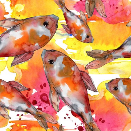 Photo for Aquatic fish set. Red sea and exotic fishes inside: Goldfish. Watercolor illustration set. Watercolour drawing fashion aquarelle. Seamless background pattern. Fabric wallpaper print texture. - Royalty Free Image