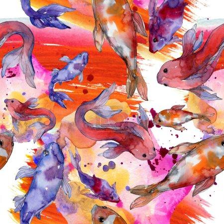 Photo pour Jeu de poissons aquatiques. Mer rouge et des poissons exotiques à l'intérieur: poisson rouge. Illustration aquarelle ensemble. Dessin aquarelle de mode aquarelle. Motif de fond transparente. Impression texture de tissu papier peint. - image libre de droit