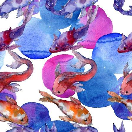 Photo pour Ensemble de poissons aquatiques. Mer Rouge et poissons exotiques à l'intérieur : Poisson rouge. Ensemble d'illustration aquarelle. Aquarelle dessin mode aquarelle. Modèle de fond sans couture. Texture d'impression papier peint tissu . - image libre de droit
