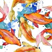 """Постер, картина, фотообои """"Набор водной рыбы. Красное море и экзотических рыб внутри: Золотая рыбка. Набор акварели иллюстрации. Рисования акварелью моды акварель. Бесшовный фон узор. Обои для рабочего стола ткань печати текстуры"""""""