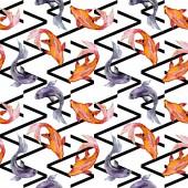 """Постер, картина, фотообои """"Набор водной рыбы. Красное море и экзотических рыб внутри: Золотая рыбка. Набор акварели иллюстрации. Рисования акварелью моды акварель. Бесшовный фон узор. Обои для рабочего стола ткань печати текстуры."""""""