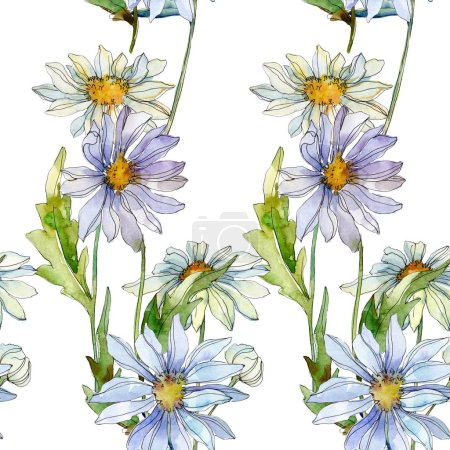 Photo for Daisies with green leaves watercolor illustration, seamless background pattern - Royalty Free Image