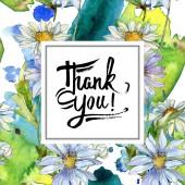 """Постер, картина, фотообои """"ромашки и ромашки с зелеными листьями Акварельные иллюстрации, рама орнамент границы с буквами Спасибо"""""""