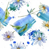 """Постер, картина, фотообои """"ромашки с зелеными листьями Акварельные иллюстрации, бесшовных фоновый узор"""""""