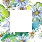 """Постер, картина, фотообои """"ромашки с Акварельные иллюстрации набора, зеленые листья кадра границы орнамент с копией пространства"""""""