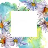 """Постер, картина, фотообои """"ромашки и ромашки с зелеными листьями Акварельные иллюстрации, рама орнамент границы с копией пространства"""""""