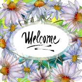 """Постер, картина, фотообои """"ромашки и ромашки с зелеными листьями Акварельные иллюстрации, рама орнамент границы с Добро пожаловать надписи"""""""