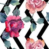"""Постер, картина, фотообои """"Красные и розовые цветочные ботанические цветок розы. Дикие весны листьев изолированы. Набор акварели иллюстрации. Рисования акварелью моды акварель. Бесшовный фон узор. Обои для рабочего стола ткань печати текстуры."""""""
