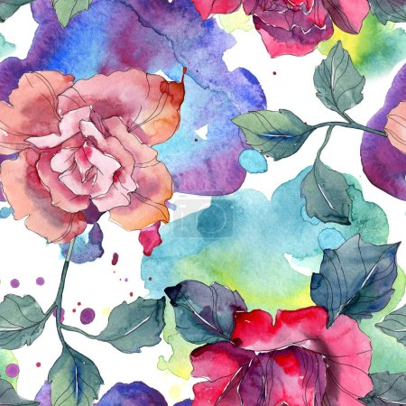 Photo for Red and pink rose floral botanical flower. Wild spring leaf isolated. Watercolor illustration set. Watercolour drawing fashion aquarelle. Seamless background pattern. Fabric wallpaper print texture. - Royalty Free Image