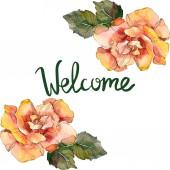 """Постер, картина, фотообои """"Оранжевый цветочные ботанические Роза. Дикие весны листьев Уайлдфлауэр изолированы. Акварель фон иллюстрации набора. Акварель рисования моды акварель изолированы. Площадь орнамент границы кадра."""""""
