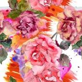 """Постер, картина, фотообои """"Розовый цветок розы Цветочные ботанический. Дикие весны листьев изолированы. Набор акварели иллюстрации. Рисования акварелью моды акварель. Бесшовный фон узор. Обои для рабочего стола ткань печати текстуры"""""""