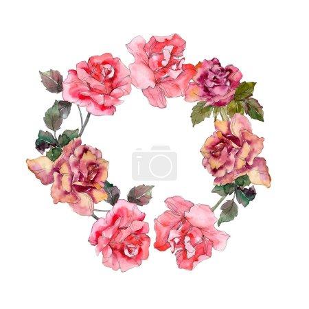 Photo pour Rose rose fleur floral de la botanique. Wildflower de feuille de printemps sauvage isolé. Aquarelle de fond illustration ensemble. Aquarelle de mode dessin aquarelle isolé. Place de cadre bordure ornement. - image libre de droit