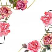 """Постер, картина, фотообои """"Розовый цветок розы Цветочные ботанический. Дикие весны листьев Уайлдфлауэр изолированы. Акварель фон иллюстрации набора. Акварель рисования моды акварель изолированы. Площадь орнамент границы кадра"""""""