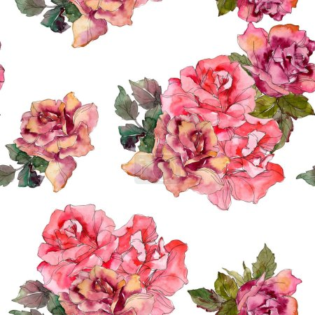 Photo for Pink rose floral botanical flower. Wild spring leaf isolated. Watercolor illustration set. Watercolour drawing fashion aquarelle. Seamless background pattern. Fabric wallpaper print texture. - Royalty Free Image