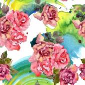 """Постер, картина, фотообои """"Розовый цветок розы Цветочные ботанический. Дикие весны листьев изолированы. Набор акварели иллюстрации. Рисования акварелью моды акварель. Бесшовный фон узор. Обои для рабочего стола ткань печати текстуры."""""""