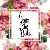 """Постер, картина, фотообои """"Розовый цветок розы Цветочные ботанический. Дикие весны листьев Уайлдфлауэр изолированы. Акварель фон иллюстрации набора. Акварель рисования моды акварель изолированы. Площадь орнамент границы кадра."""""""