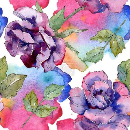 Photo pour Fleur botanique florale bleue et rose violette. Feuille de printemps sauvage isolée. Ensemble d'illustration aquarelle. Aquarelle dessin aquarelle. Modèle de fond sans couture. Texture d'impression papier peint tissu . - image libre de droit