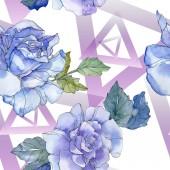 """Постер, картина, фотообои """"Синий и фиолетовый цветочные ботанические цветок розы. Дикие весны листьев изолированы. Набор акварели иллюстрации. Акварель Акварель и рисования. Бесшовный фон узор. Обои для рабочего стола ткань печати текстуры."""""""