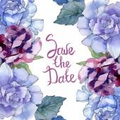 """Постер, картина, фотообои """"Ботанический цветочные розы. Дикие весны листьев Уайлдфлауэр изолированы. Акварель фон иллюстрации набора. Рисования акварелью моды акварель. Площадь орнамент границы кадра"""""""