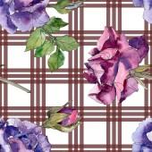 """Постер, картина, фотообои """"Пурпурные и красные розы ботанического цветы. Дикие весны листьев изолированы. Набор акварели иллюстрации. Рисования акварелью моды акварель. Бесшовный фон узор. Обои для рабочего стола ткань печати текстуры"""""""