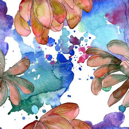 Foto de Flor suculenta selva. Flores silvestres hoja resorte aislado. Conjunto de ilustración acuarela. Aquarelle de moda dibujo de acuarela. Patrón de fondo transparente. Textura impresión de papel pintado de tela. - Imagen libre de derechos