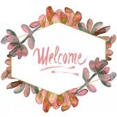 """Постер, картина, фотообои """"Джунгли сочные цветочные ботанические цветок. Дикие весны листьев Уайлдфлауэр изолированы. Акварель фон иллюстрации набора. Акварель рисования моды акварель изолированы. Площадь орнамент границы кадра"""""""