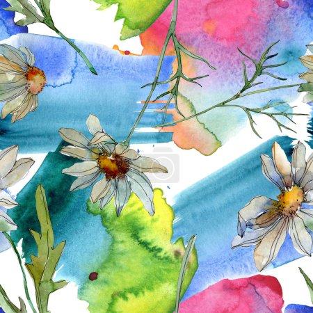Foto de Chamomiles con verdes hojas ilustración acuarela, patrón de fondo transparente - Imagen libre de derechos