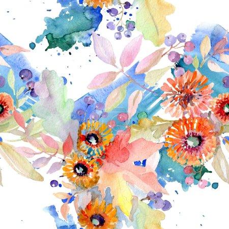Photo pour Bouquet floral de fleurs botaniques. Feuille sauvage de printemps fleur sauvage isolée. Ensemble d'illustration aquarelle. Aquarelle dessin mode aquarelle. Modèle de fond sans couture. Texture d'impression papier peint tissu . - image libre de droit