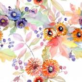 """Постер, картина, фотообои """"Букет цветочный ботанического цветы. Дикие весны листьев Уайлдфлауэр изолированы. Набор акварели иллюстрации. Рисования акварелью моды акварель. Бесшовный фон узор. Обои для рабочего стола ткань печати текстуры."""""""
