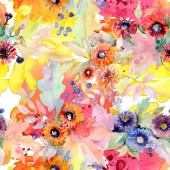 """Постер, картина, фотообои """"Букет цветочный ботанического цветы. Дикие весны листьев Уайлдфлауэр изолированы. Набор акварели иллюстрации. Рисования акварелью моды акварель. Бесшовный фон узор. Обои для рабочего стола ткань печати текстуры"""""""