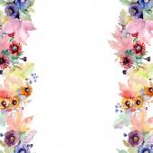 """Постер, картина, фотообои """"Букет цветочный ботанического цветы. Дикие весны листьев Уайлдфлауэр изолированы. Акварель фон иллюстрации набора. Акварель рисования моды акварель изолированы. Площадь орнамент границы кадра."""""""