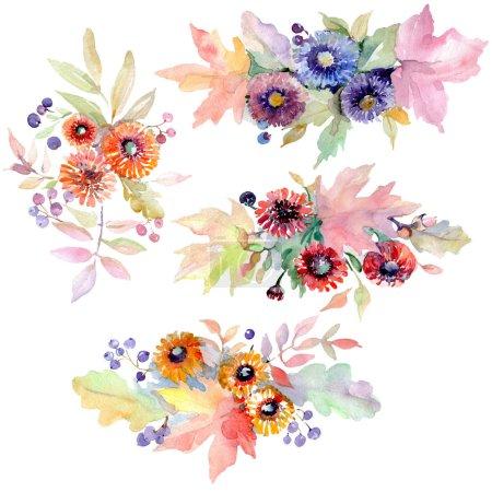 Ramo de flores botánicas florales. Flor silvestre de hoja de primavera aislada. Conjunto de ilustración de fondo acuarela. Acuarela dibujo moda aquarelle. Elemento de ilustración de ramo aislado .
